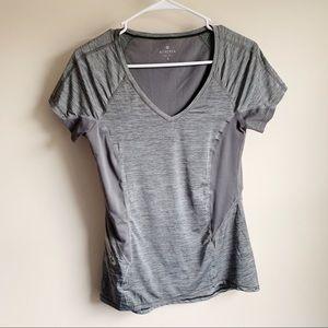 Athleta Forerunner Gray Mesh Zipper T-shirt Active